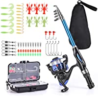 Leo Light Weight Kids Fishing Pole Telescopic Fishing Rod and Reel Combos with Full Kits Lure Case and Carry Bag for…