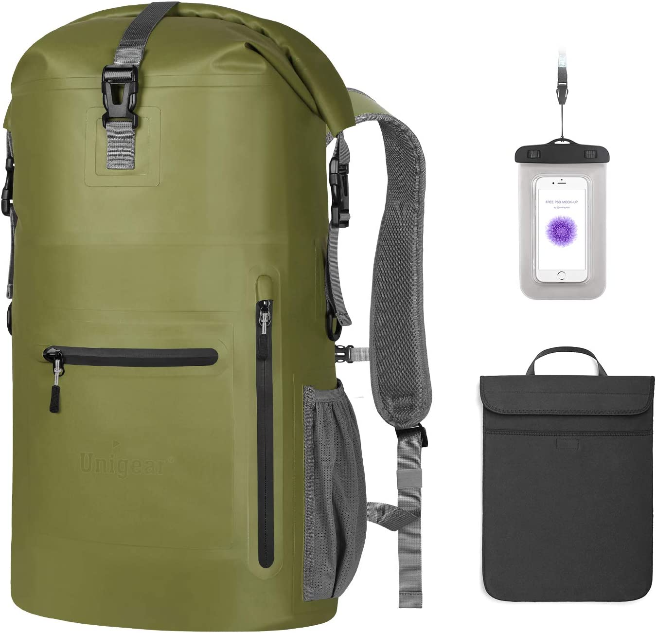 Unigear Waterproof Backpack Floating Dry Bag 35L with a Detachable Laptop Bag and 4 Zipper Pockets Ventilated Padded Back and Straps for Comfort
