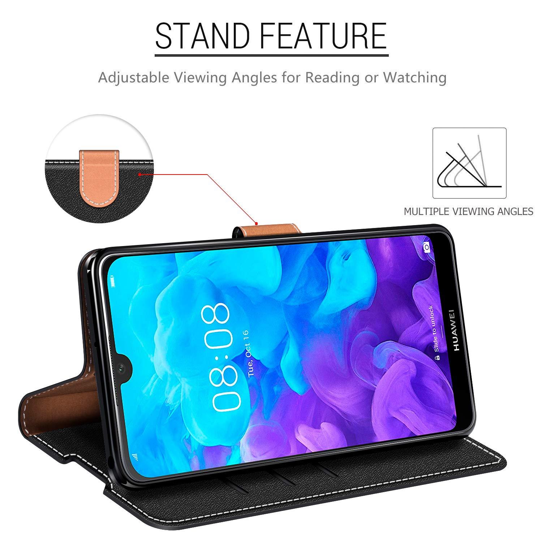 COODIO Handyh/ülle f/ür Huawei Y5 2019 Handy H/ülle Schwarz//Rot Huawei Y5 2019 Klapph/ülle Tasche Huawei Y5 2019 H/ülle Leder Handytasche f/ür Honor 8S