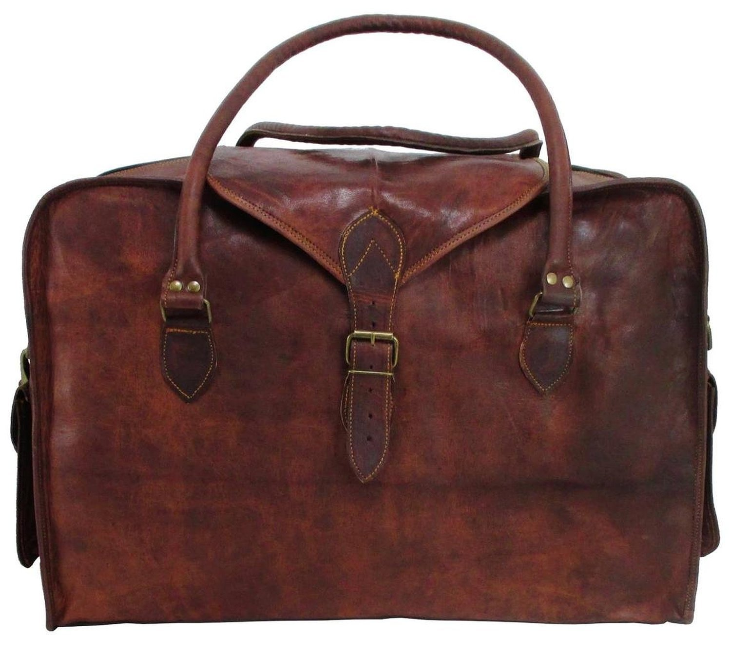 21'' Mens Retro Style Carry on Travel Luggage Flap Duffle Vintage Leather Duffle Bag
