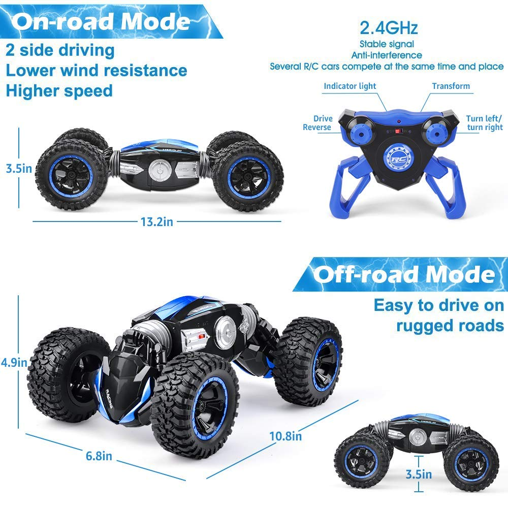 NQD RC Car Off-Road Vehicles Rock Crawler 2.4Ghz Remote Control Car Monster Truck 4WD Dual Motors Electric Racing Car, Kids Toys RTR Rechargeable Buggy Hobby Car (Blue) by NQD (Image #6)