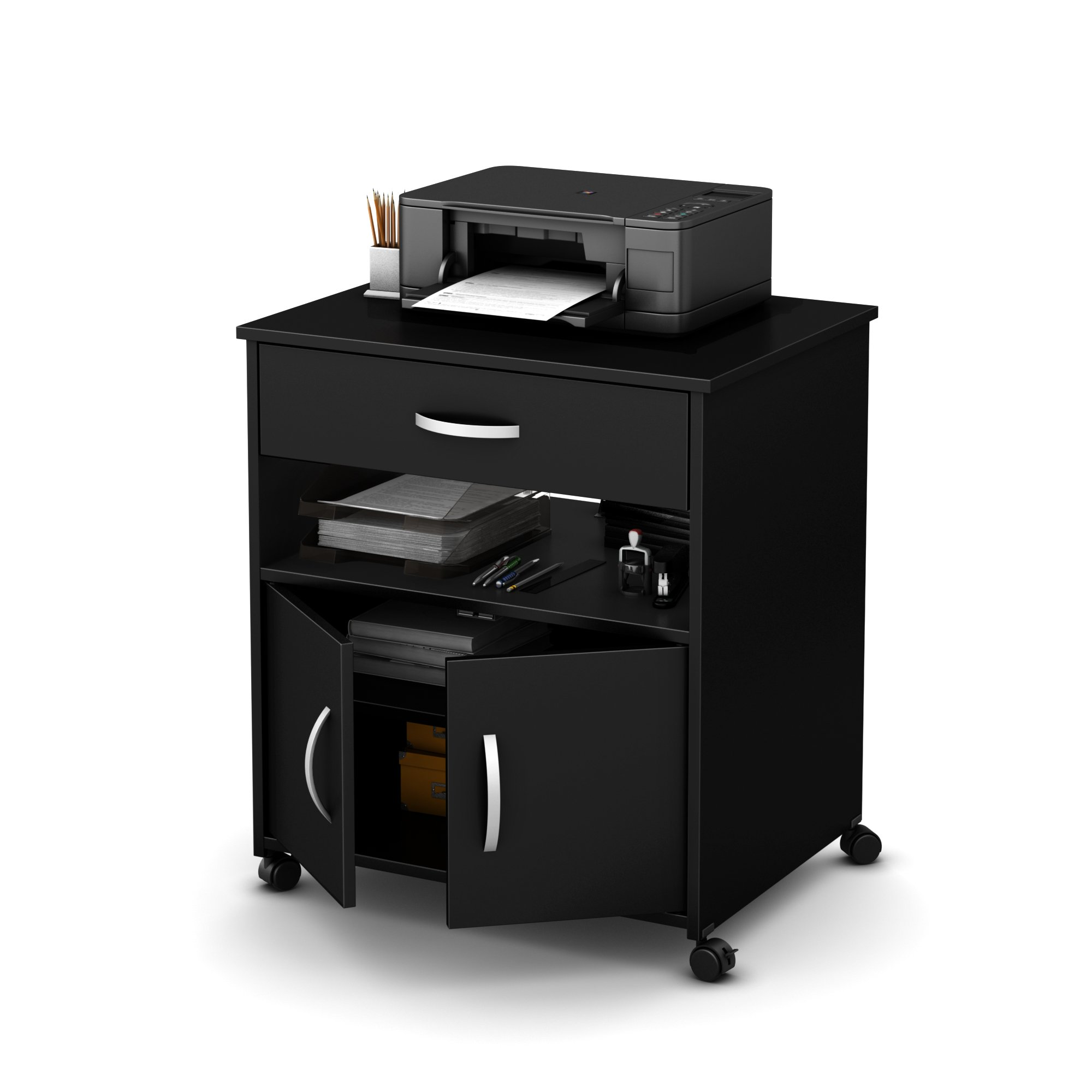 South Shore Axess Printer Cart on Wheels, Pure Black