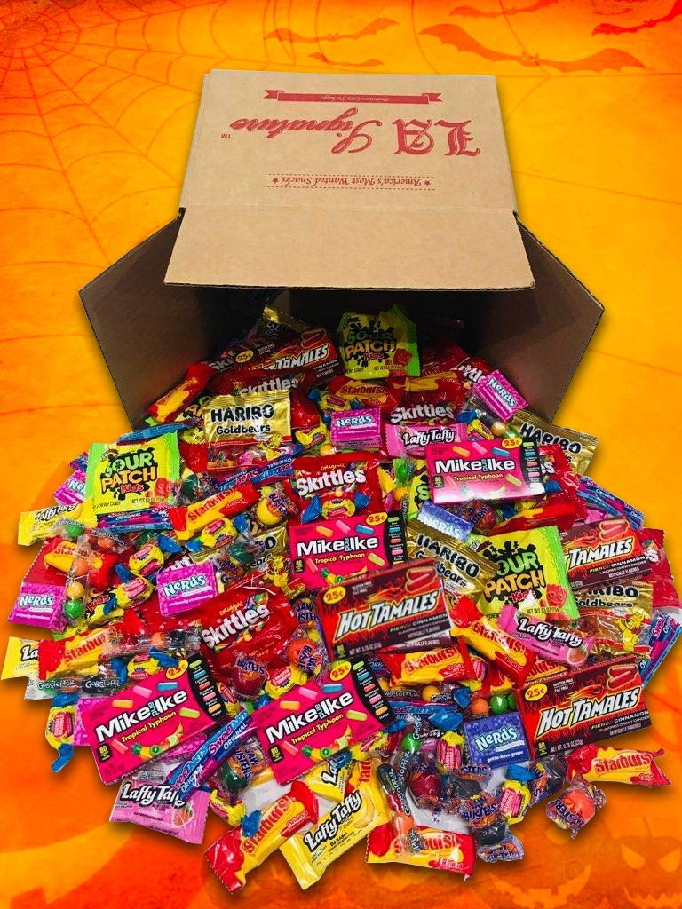 Bulk Assorted FUN TREATS Candies 82 OZ (Net Weight 5.13LBS/2.32KG ) Includes Nerds, Haribo, Sour Patch, Hot Tamales, Skittles, Gobstoppers, Laffy Taffy, Starburst, Mike & Ike & MORE !!! by LA Signature