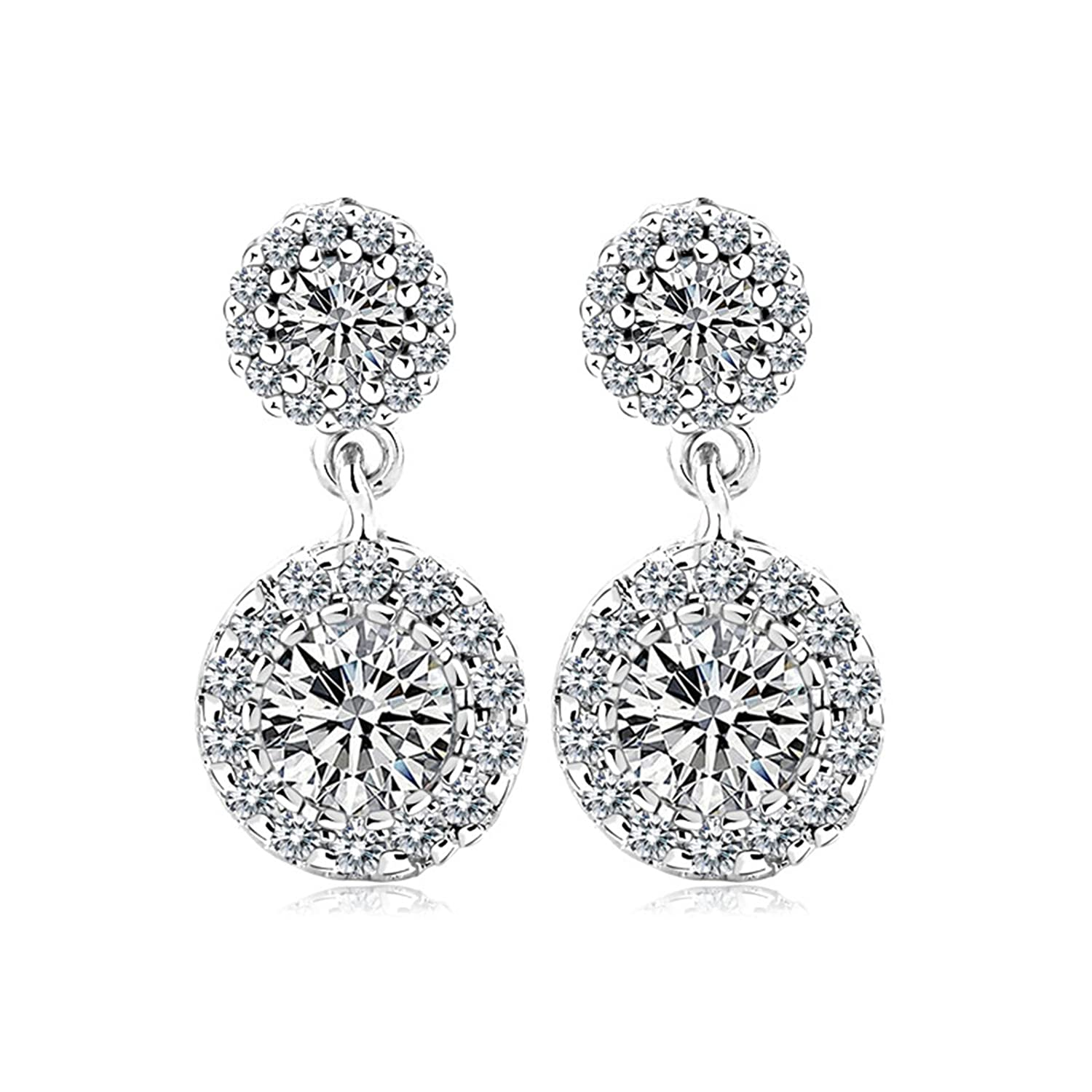 Beydodo Gold Plated Earrings Stud for Womens White Cubic Ziconia Earrings Double Circle Round Shape