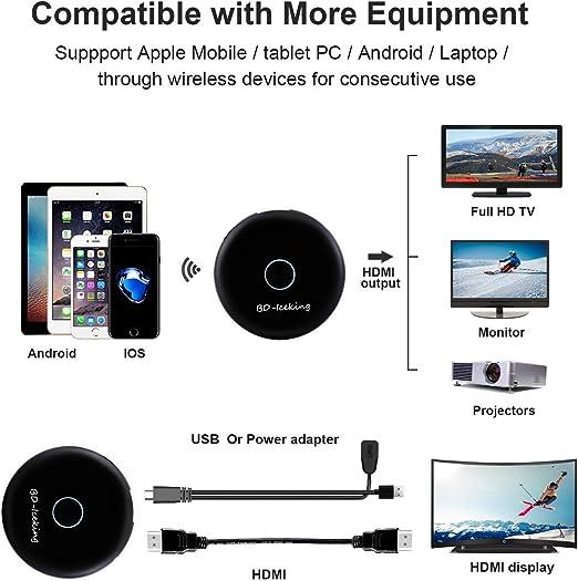 XDDIAS WiFi Dongle de Pantalla,WiFi Display Dongle Adaptador de Receptor de TV Digital HDMI 1080P Miracast Airplay para Android/Mac/Proyector: Amazon.es: Electrónica