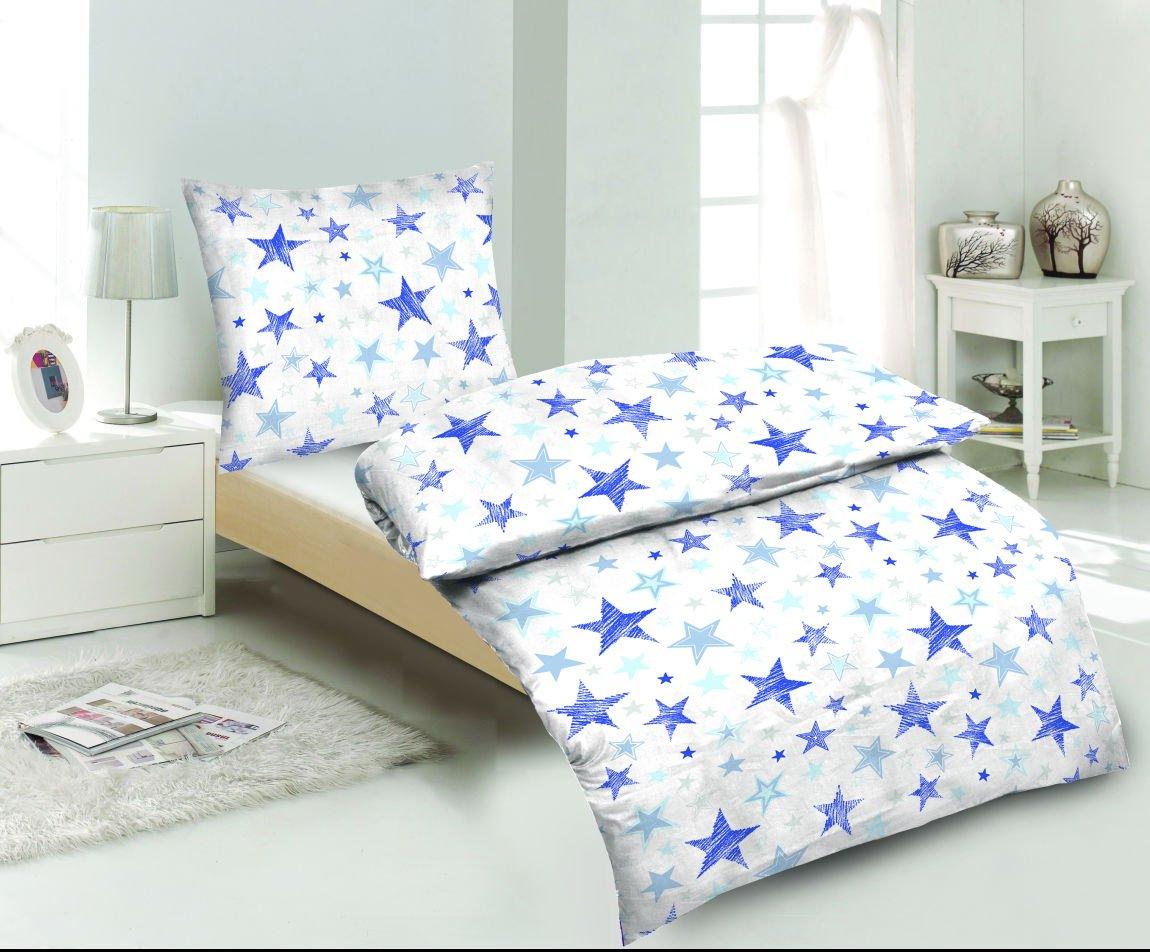 Aminata Kids Bettwäsche Sterne blau 135x200 cm Baumwolle Teenager ...