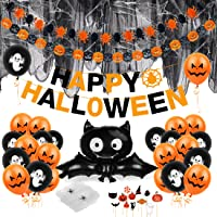 Spinnennet Halloween ballonnen kinderset, 39 stuks Happy Halloween decoratie kinderfeest, spinnenweven, slinger, banner…
