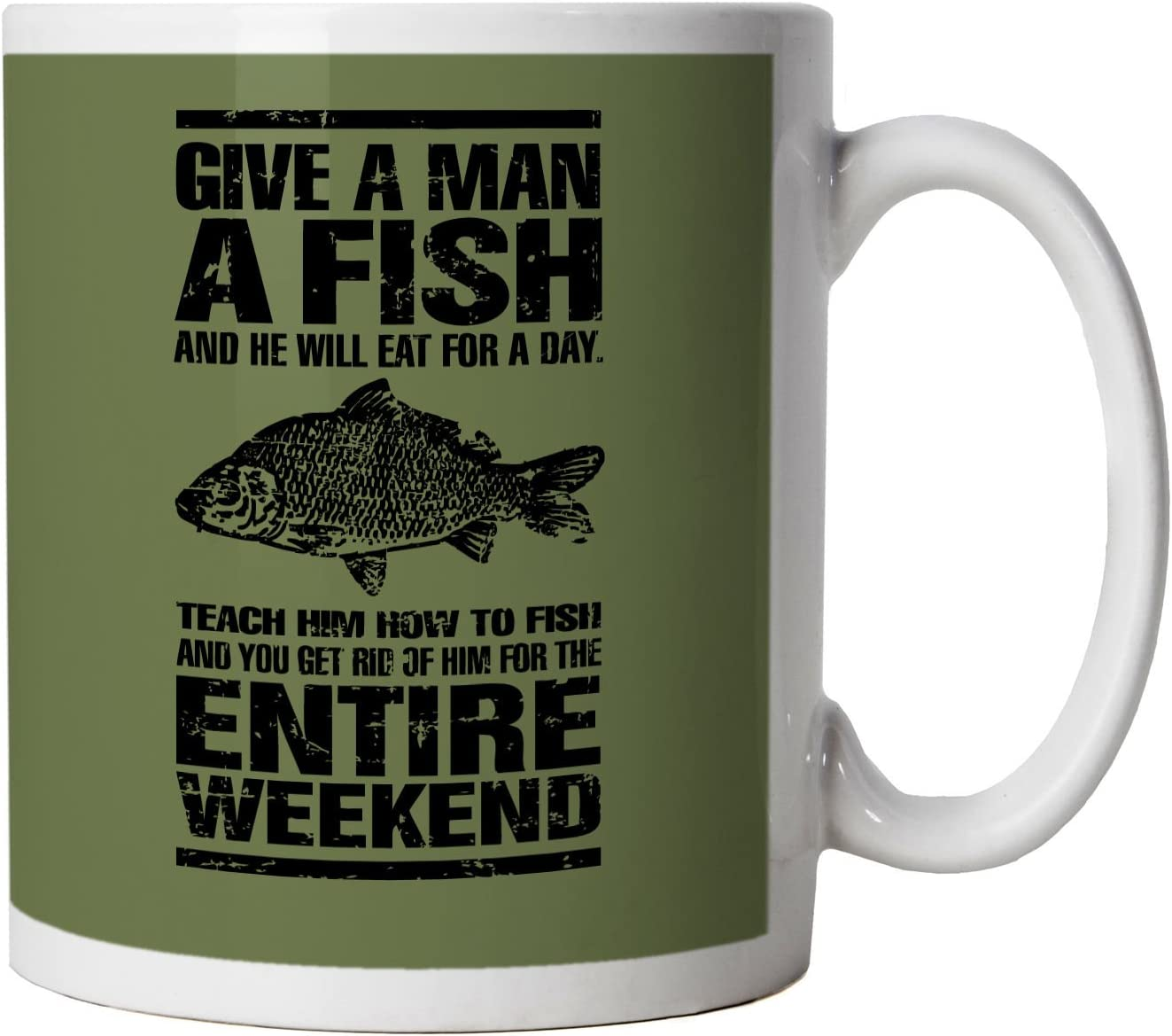 Give A Man A Fish Funny Fishing Mug Coarse Carp Sea Match Fly Specimen Tackle Fishermen Clothing Angling Angler Cool Birthday Christmas Gift Present Him Dad Husband Son 10oz White