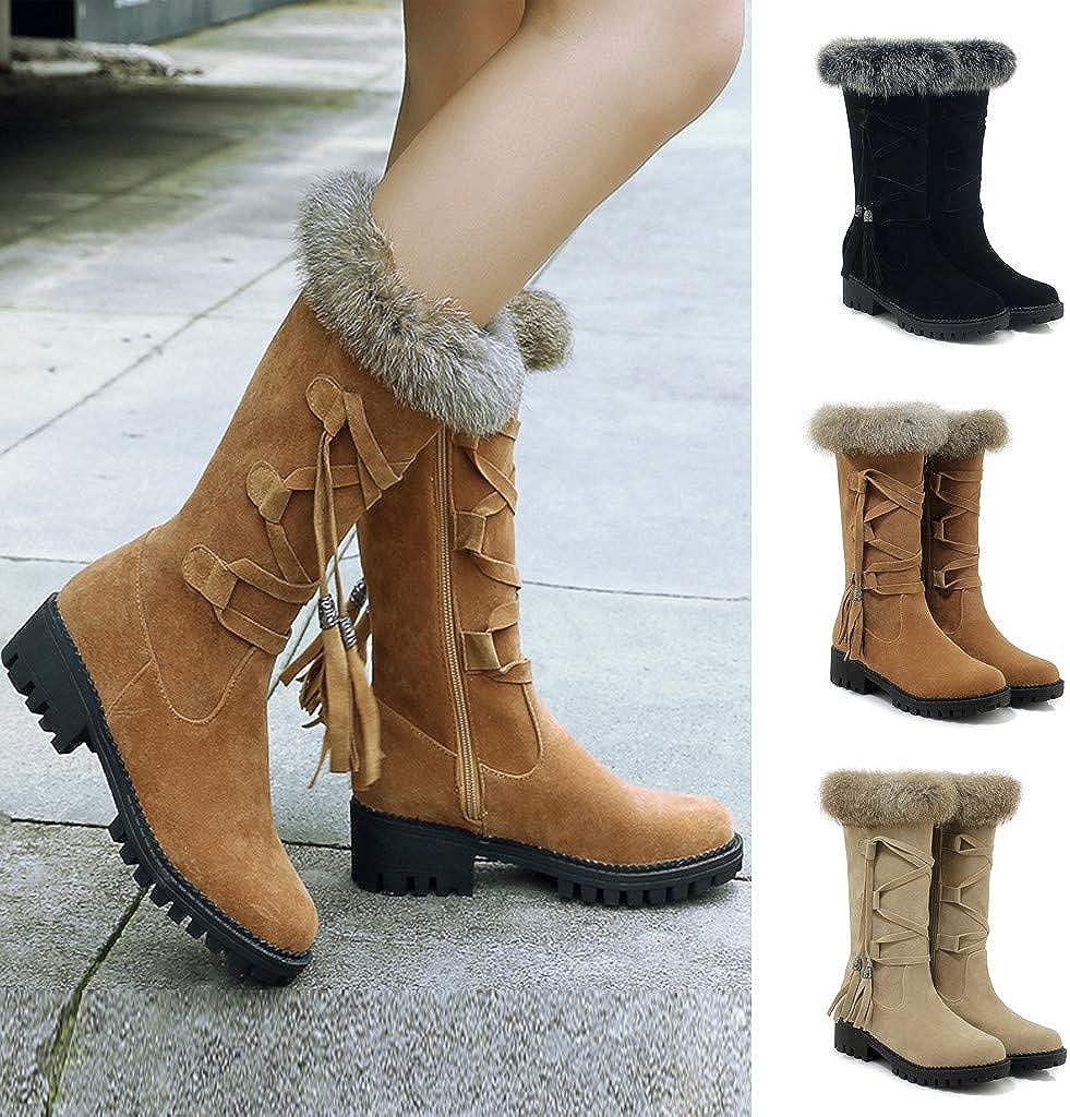 BALABUE Stiefel Damen Winter Freizeit Herde Lässige Schuhe Runder Zeh Schnüren Warm halten Schneestiefel Beige