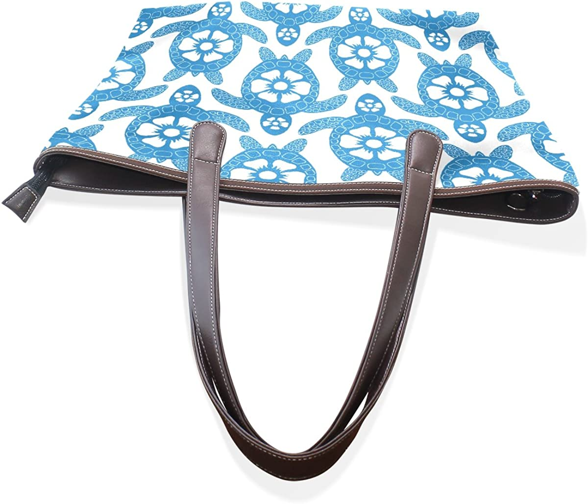 Women Large Tote PU Leather Shoulder Bags A Lot of Purple Turtle Ladies Handbag