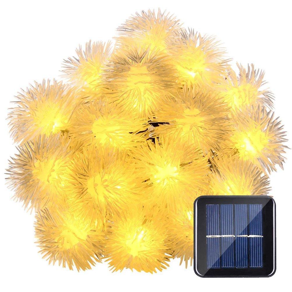blanc chaud LEDMOMO 7M 50 LED Lampes /à cordes solaires Chuzzle Ball Feuilles d/écoratives de f/ée pour jardin ext/érieur Garden Garden Garden Party et D/écorations de vacances