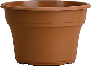 Panterra Round Planter - The HC Companies Decorative 14-Inch Plastic Pot Planter for Outdoor Plants Clay (PA.14000E22)