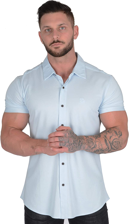 Men/'s Short Sleeve Slim Fit Dress Shirt Casual Formal Party Dress Shirts Blouse