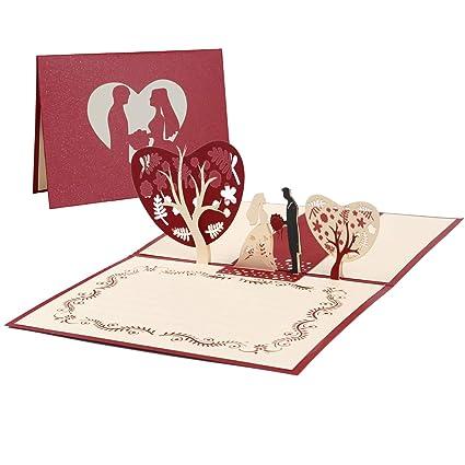 Vicloon Tarjeta de Felicitación de Boda Invitación, Tarjeta Regalo de 3D Pop-up con Sobre y Papel de Carta, Tarjeta de San Valentín de Cumpleaños para ...