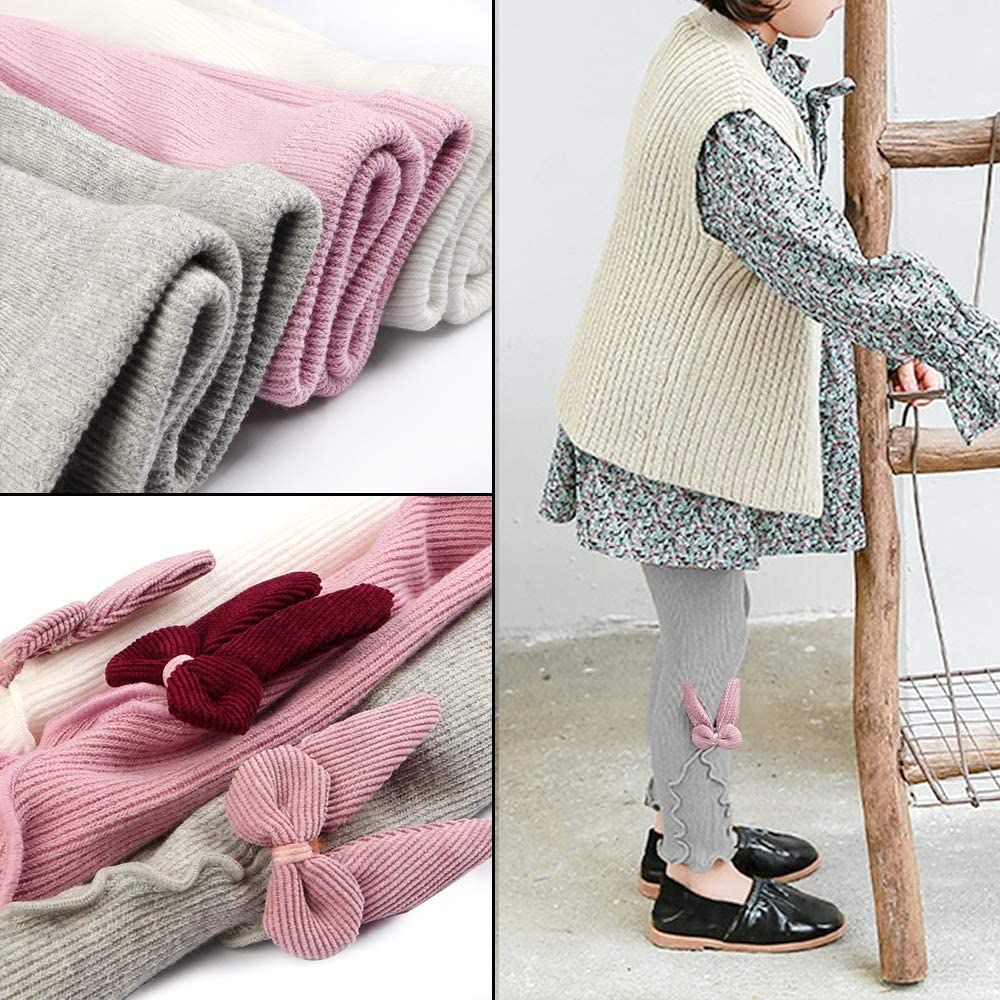 BOOPH 3 Pack Girls Legging Pants Cat Knit Footless Baby Toddler Tights 1-8 Year