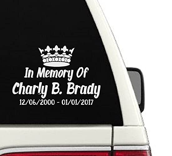 In Memory Of King Crown Memorial Car Decal 5x7 5