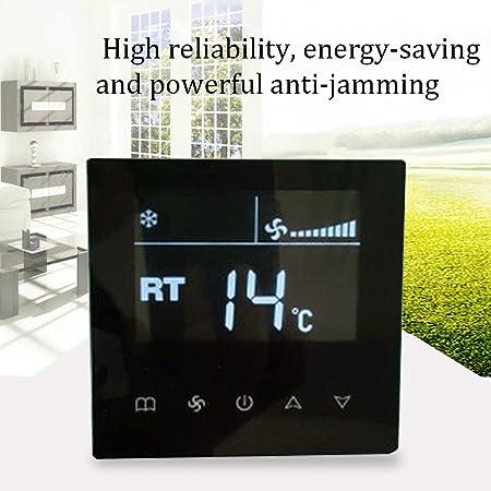 KKmoon Interruptor de aire acondicionado central LCD inteligente Panel de control de pantalla t醕til Termostato controlador de temperatura de la habitaci髇 ...