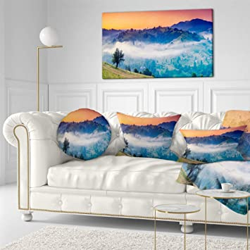 Design Art Fantastic Blue Mountains Panorama Landscape Wall Art Canvas Print 40x20 Amazon In Home Kitchen