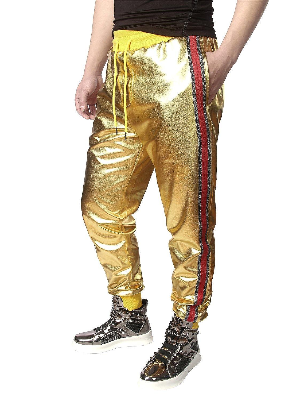 JOGAL Men Metallic Shiny Joggers Casual Drawstring Sweatpant