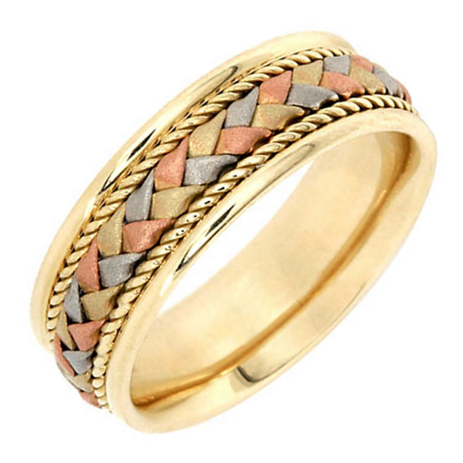 14K Tri Color Gold Braided Basket Weave Women's Comfort Fit Wedding Band (7.5mm) Size-8c1