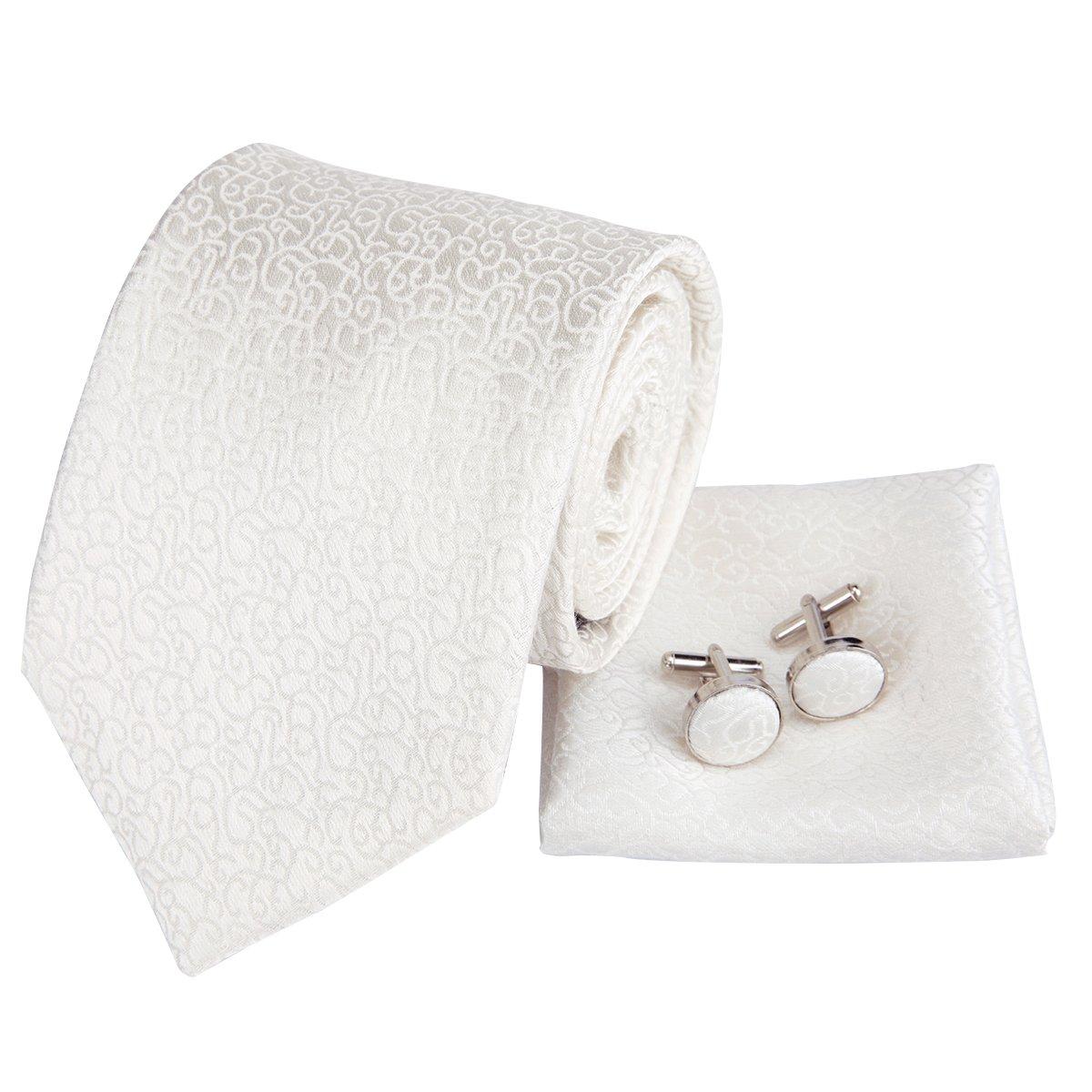 Dubulle Mens Silk Tie Set Necktie Handkerchief Cufflinks Wedding Tie