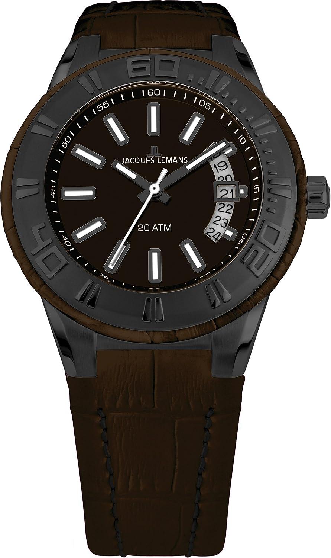 Jacques Lemans 1-1770K - Reloj analógico Unisex de Cuero