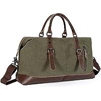 Reisetasche Herren,Weekender Canvas 52L Segeltuch mit PU-Leder Verstellbarer Schultergur für Reise am Wochenend Urlaub