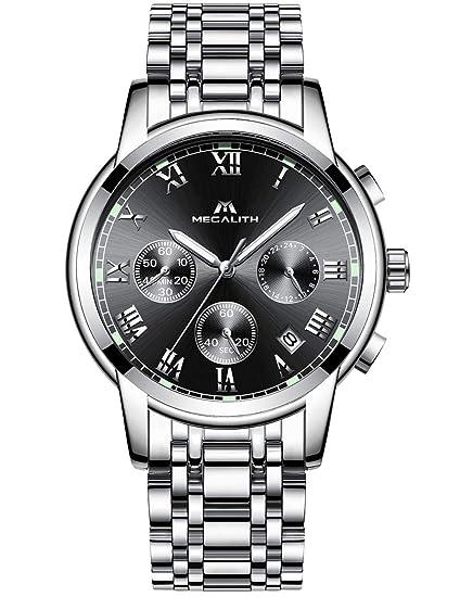 Relojes Hombre Acero Inoxidable Reloj de Pulsera Deportivo Impermeable Lujo Moda Cronógrafo Fecha Calendario Analogicos Cuarzo Reloj Negocio Casual ...