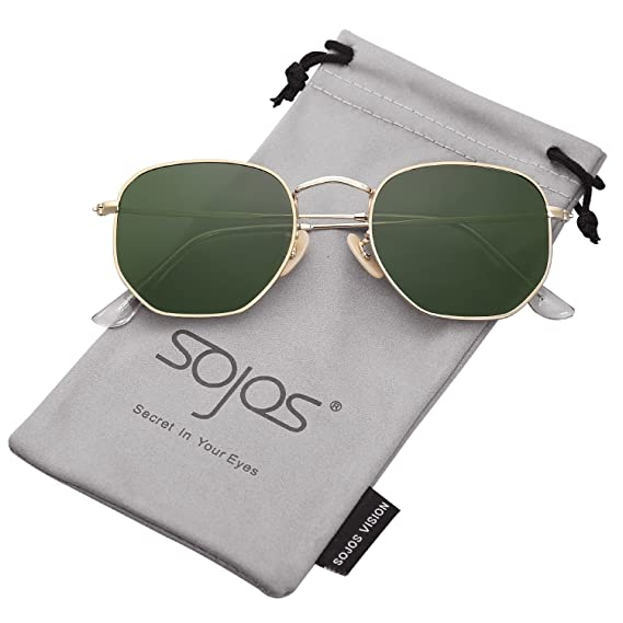 4cea118de6 SOJOS Small Square Polarized Sunglasses for Men and Women Polygon Mirrored  Lens SJ1072 with Gold Frame G15 Lens  Amazon.in  Clothing   Accessories