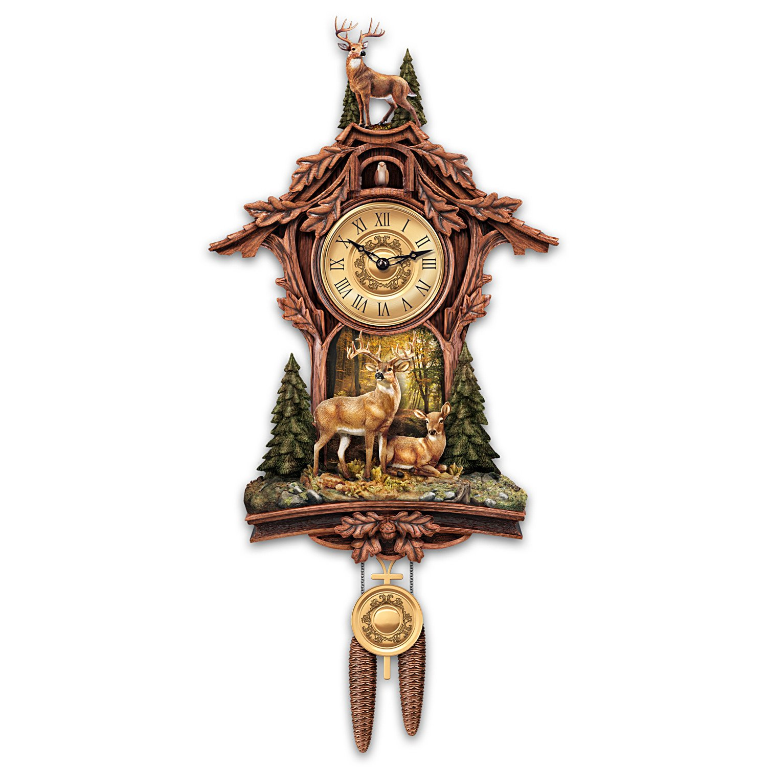 Sculpted Deer Cuckoo Clock with Sculpted 10 Point Buck at Top by The Bradford Exchange