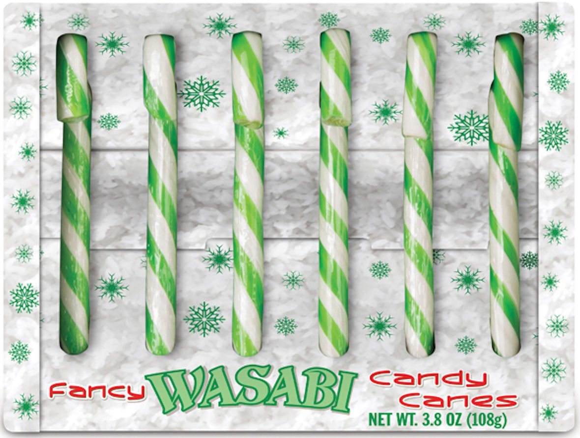 Accoutrements Novelty Christmas Candy Cane Gag Gift - Wasabi Flavor - Pack of 6