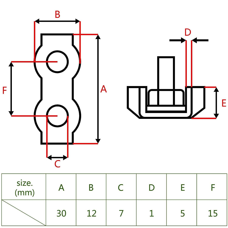 ENET 10 x 2 mm Duplex Drahtseilklemme Drahtseil Rope Grips Clamp U Edelstahl Marineblau Rosenkranz Bulldogge Clamp