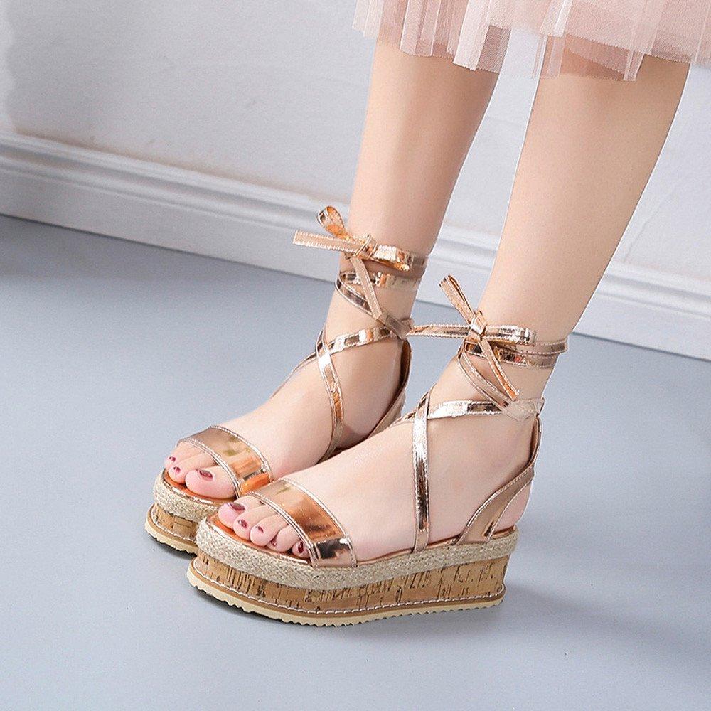 Suma-ma Womens Roman Weave Sandal Shoes Platform Thick-Bottom Waterproof Wedge Beach Sandals