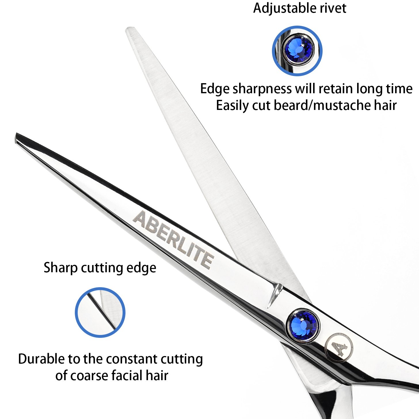 Beard Scissors Kit for Men (5 pcs) | 5'' Professional Beard/Hair Scissors (Japanese Stainless Steel), Travel Size Precision Beard/Mustache Scissor, Pocket Wood Comb, Master Barber Comb, and PU Case Set by Aberlite (Image #4)