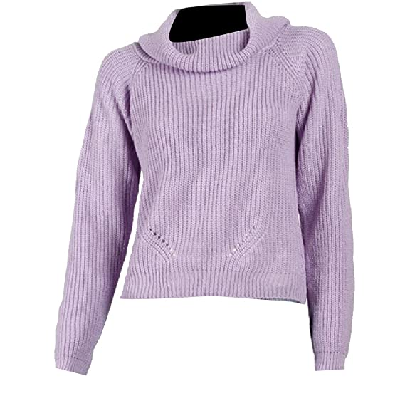 CrazyDay Women Long-sleeve Piles Collar Hollow Solid Knit Sweater Tops  Purple XS 52b774546