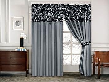 Wunderbar Roman Vorhange Ornament Barock Silber Schwarz Vorhänge Mit Kräuselband  230x230cm Gardine Für Wohnzimmer Schlafzimmer  2er