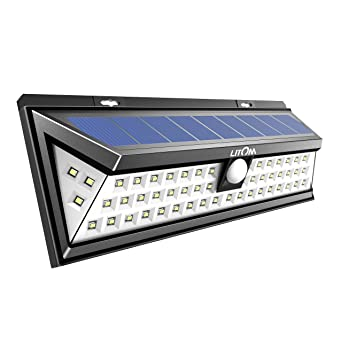 Litom Solar Lights Outdoor 54 LED, Super Bright Wide Angle Solar Powered  Light, Wireless