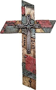 Wowser Patched Wall Cross with Nails and Crucifix, Love, Hope, Grace Inspirational Catholic Wall Decor, 12 Inch