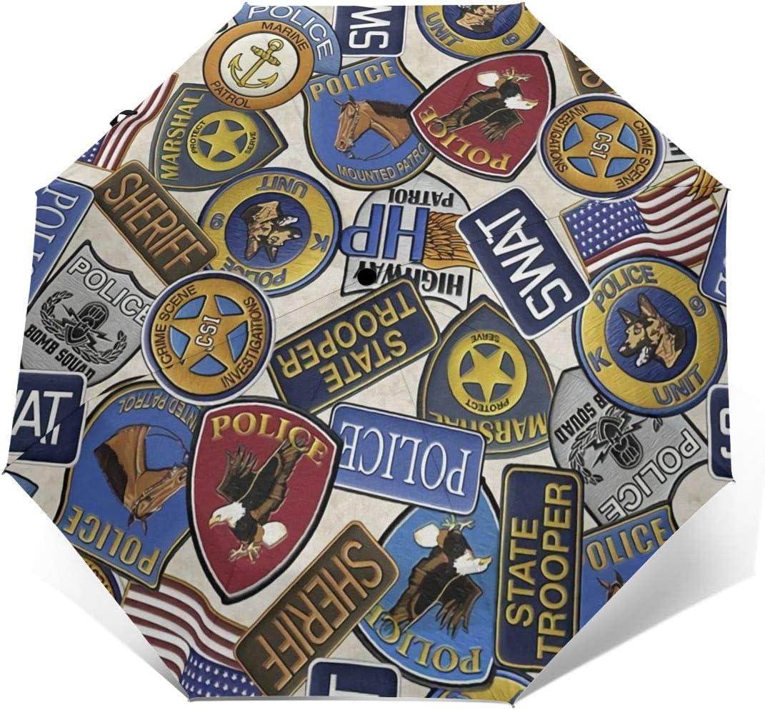 American Police Western Badge Sun Umbrella Parasol UV Protection Auto Open Folding With Sun Protection For Women