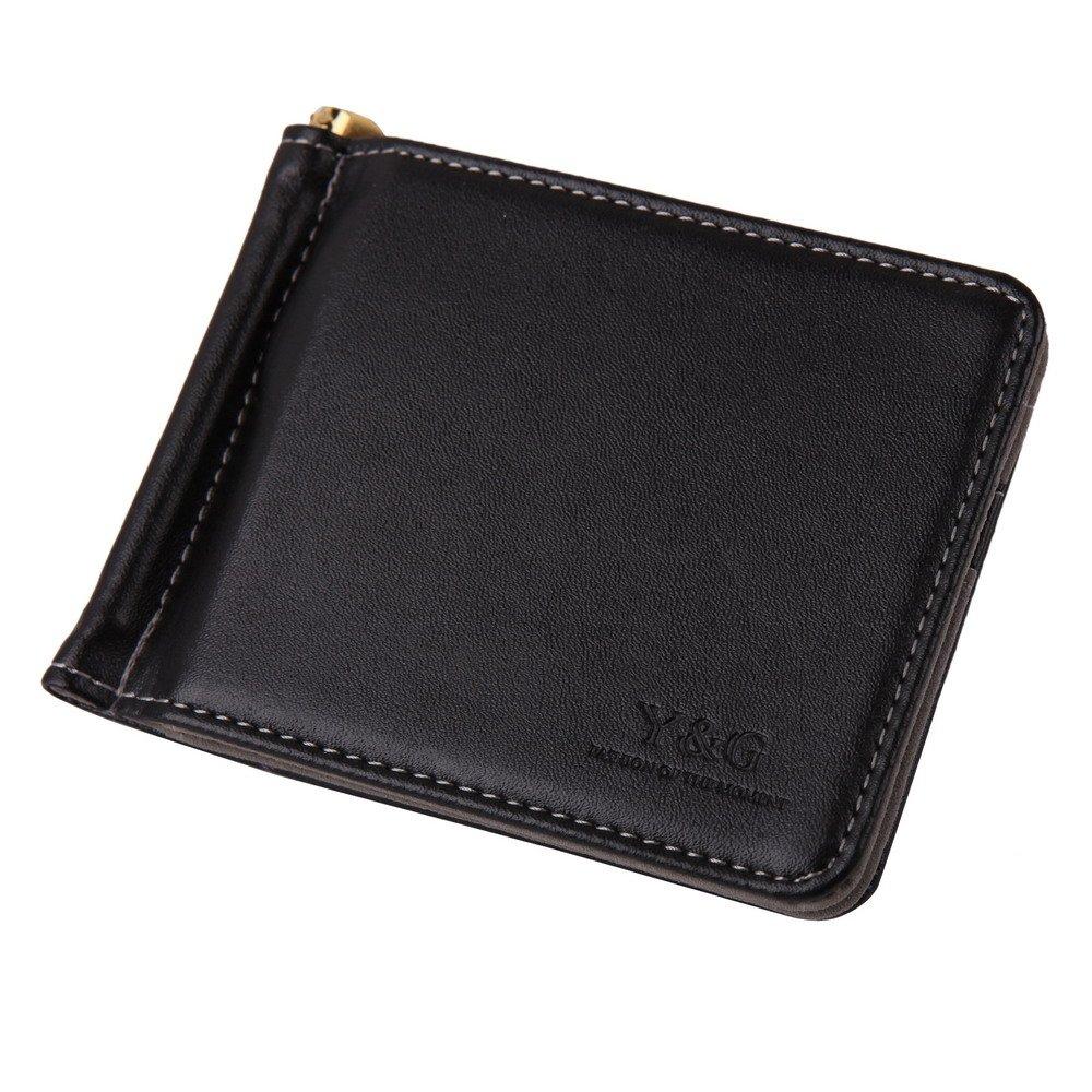 Grey Black Money Clip Wallet Leather 5 Card Holder and Gold Money Clip Mans Wallet Credit Card Holder By Y& g Money Clip Wallet YCA1005