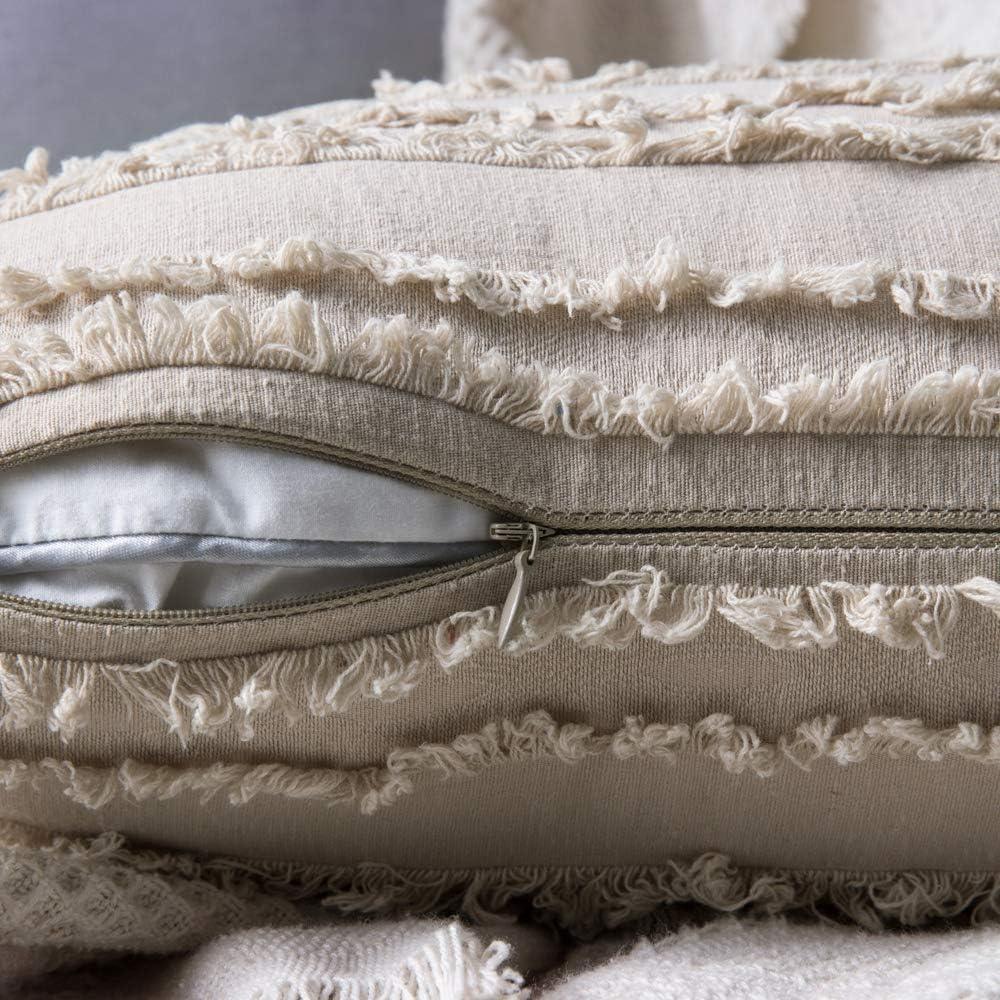MIULEE 2er Set Dekorative Kissenbezug mit Tassel Fransen Dekokissen Boho Super Weich Kissenbez/üge Quaste Decor Kissenh/ülle f/ür Sofa Couch Schlafzimmer Wohnzimmer Auto 12X20inch 30x50cm Beige