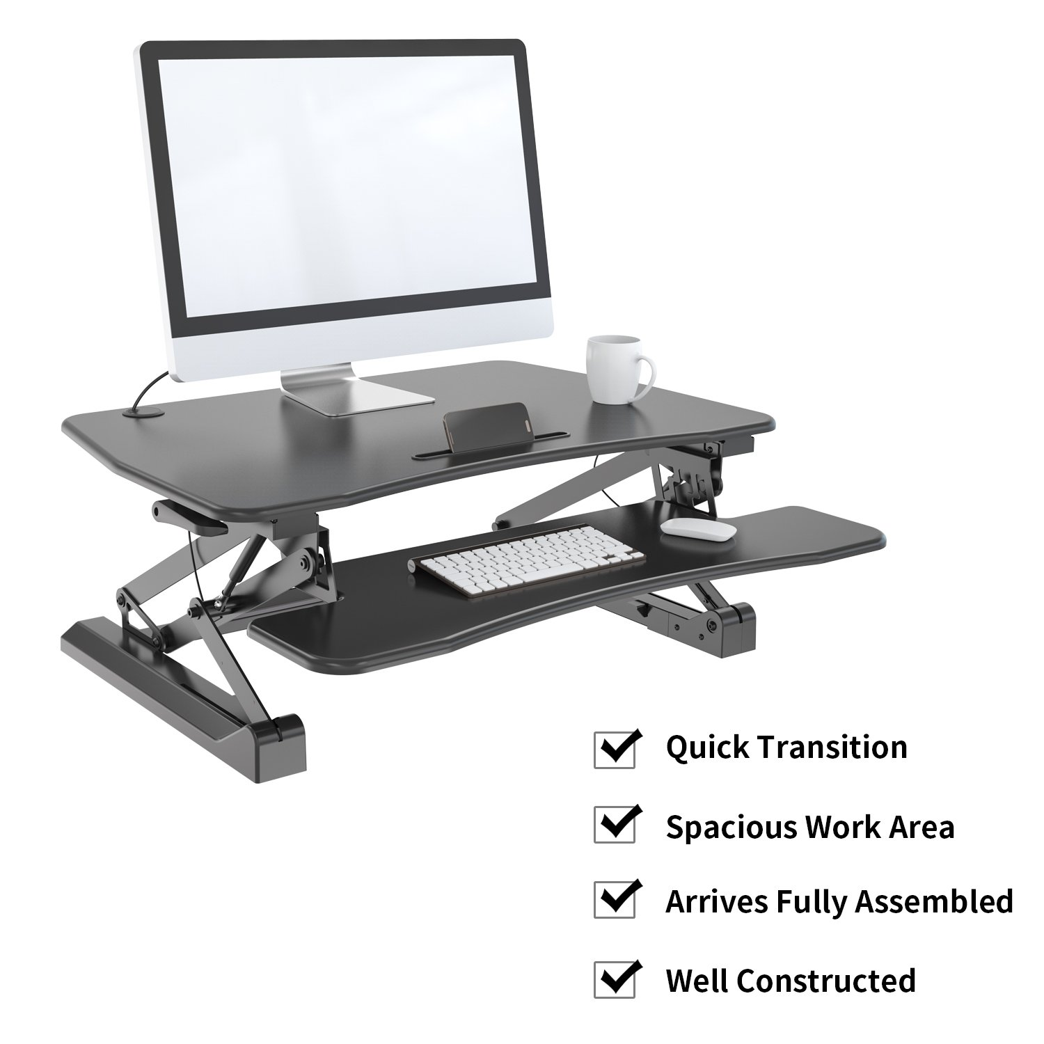 Zeal Height Adjustable Standing Desk Ergonomic Laptop Monitor Standing Dual Riser Sit to Stand Table Computer Workstation Desk (Black) by Zealdesk (Image #4)