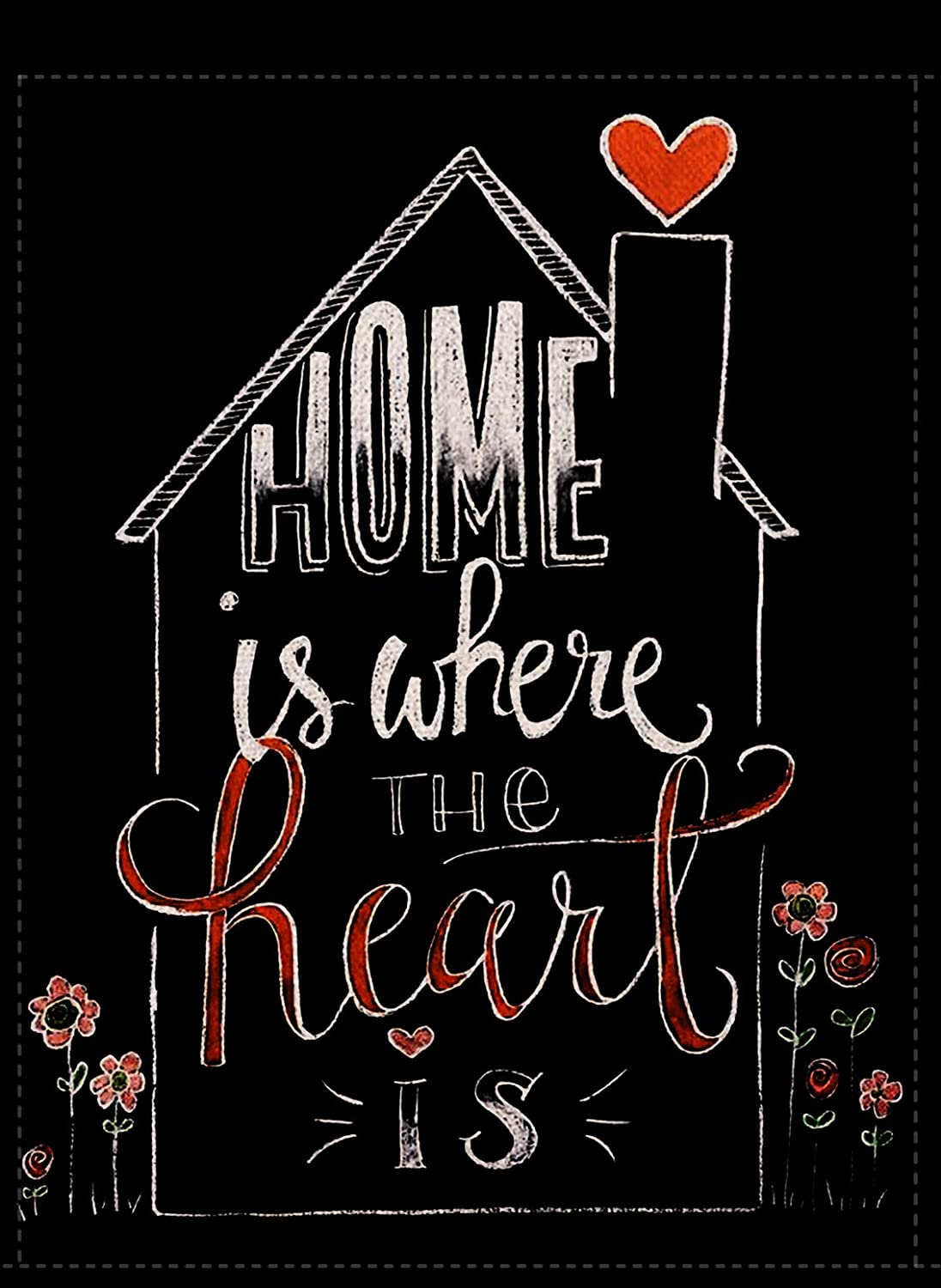 Furiaz Home is Where The Heart is Valentine's Day Garden Flag, Decorative House Yard Outdoor Flag Love Hearts Flowers, Burlap Spring Summer Outside Holiday Decorations Home Decor Flag Black 12.5 x 18