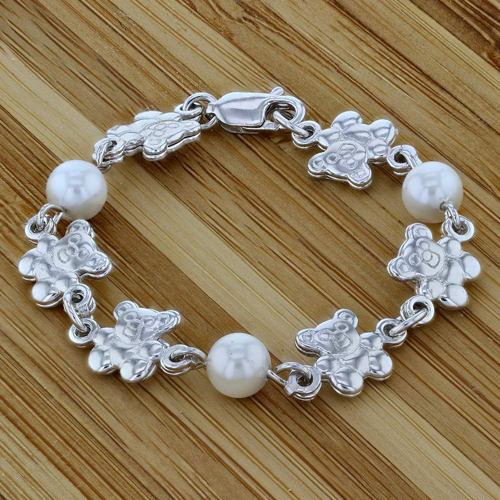 925 Sterling Silver Teddy Bear Baby Girl Bracelet White Simulated Pearl 4.5