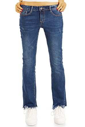 bestyledberlin Damen Boot Cut Jeans, Ausgefranste Hüftjeans, Ausgestellte Schlaghose j71i