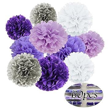 Deco Mariage Violet Gris Pompon Papier De Soie Decoration Bapteme