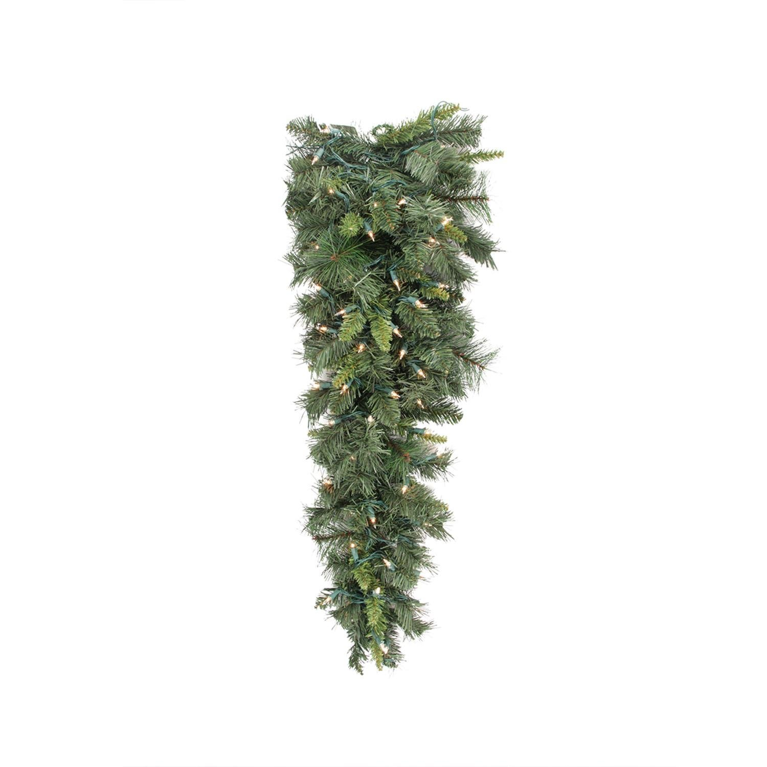 Allstate 36'' Pre-lit Mixed Long Needle Pine Artificial Christmas Teardrop Swag - Clear Lights