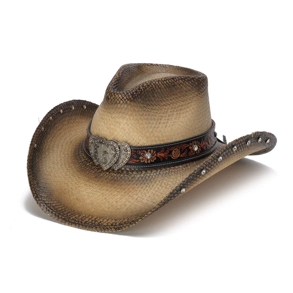 Stampede Hats Women's Sabrian Heart Rhinestone Western Hat S Tea Stain