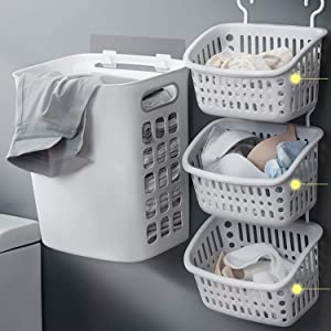 MYJZY Wall Mounted Laundry Basket 3 Sections Wall Hanging Laundry Hamper Portable Dirty Clothes Casket Laundry Bag in Bathroom,Bedroom,Gray