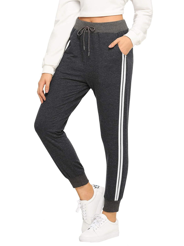 Grey  SweatyRocks Women's Drawstring Waist Striped Side Jogger Sweatpants with Pocket